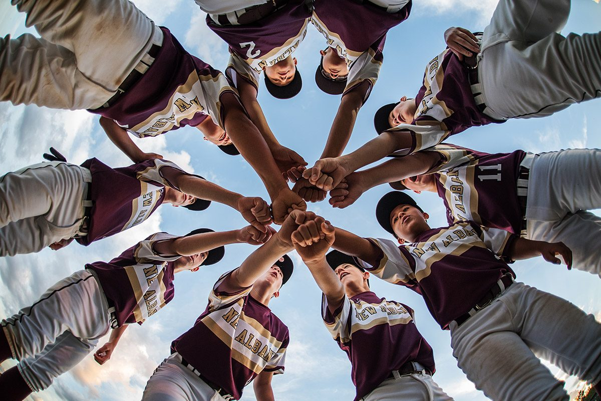 baseball, little league, boys, kids, huddle, game, sport
